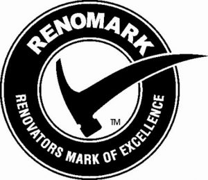 Renomark black logo with hammer as checkmark
