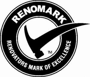 Renomark black logo with hammer as checkmark