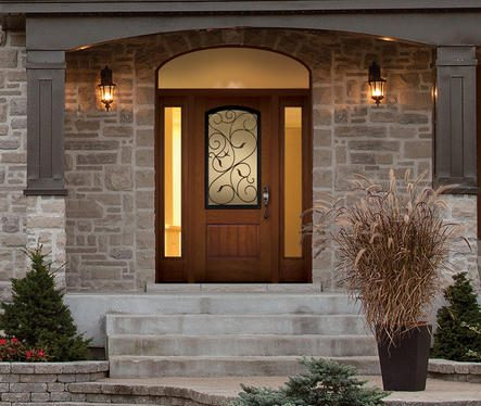 Entrayway door, wooden style, 3/4 central glass pane, two vertical glass side panels