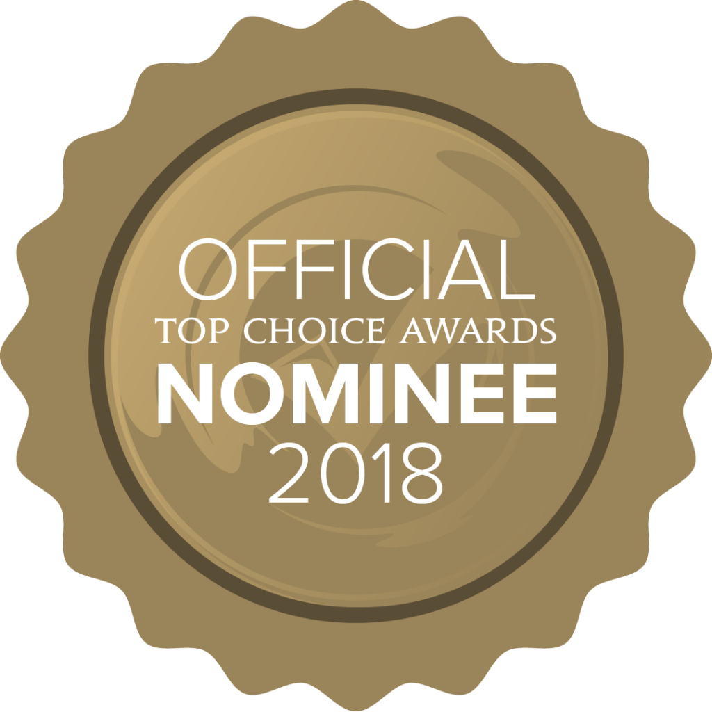 Official Nominee for 2018 Top Choice Awards, Gold Emblem