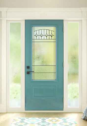 Novatech Steel Entry Door Orleans Style, Liano centre glass, chinchilla sidelights