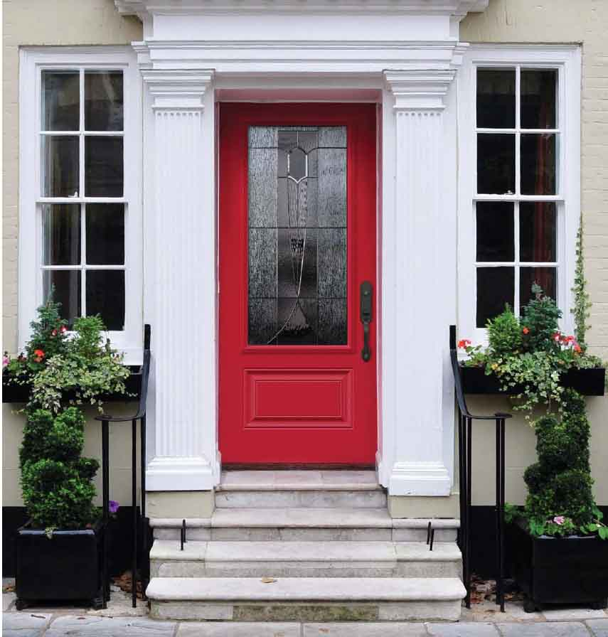 Orleans Steel Front Entry Door, Bright Red