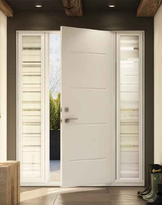 Vog Steel entry Door, White, 2 Sidelights