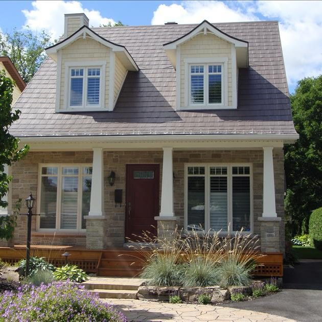 Two Storey House with Metal Shingles, Wakefield Bridge Steel Shingles, Medium Brown Colour