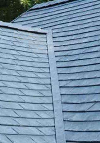 CertainTeed Matterhorn Slate Metal Roofing Close Up in Cobalt edited
