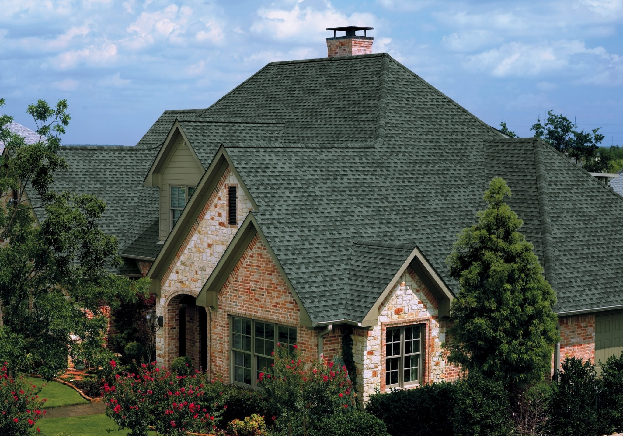 Asphalt Roof, Asphalt Shingles, Slate Grey Green Roof, Large Brick House