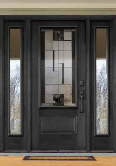 Novatech Fibreglass entry Door Orleans Style Kallima Centre Glass, clear sidelights