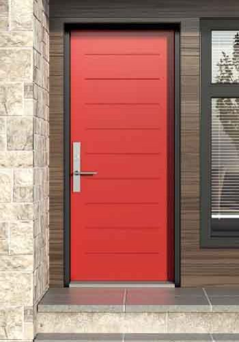 Novatech Steel Entry Door - Mundo 9 lines style, red