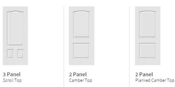 Novatech Steel entry Doors - 3 Panel, Camber Top, Planked Camber Top