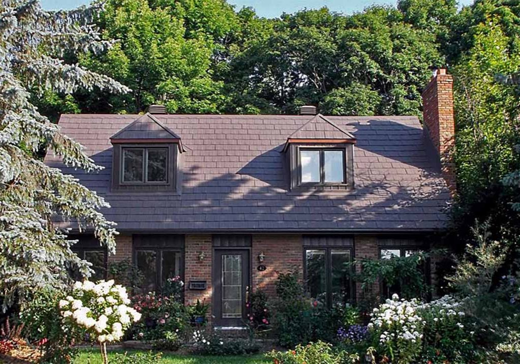 Steel & Metal Roof Shingles, Log Cabin Style House on Treed Lot
