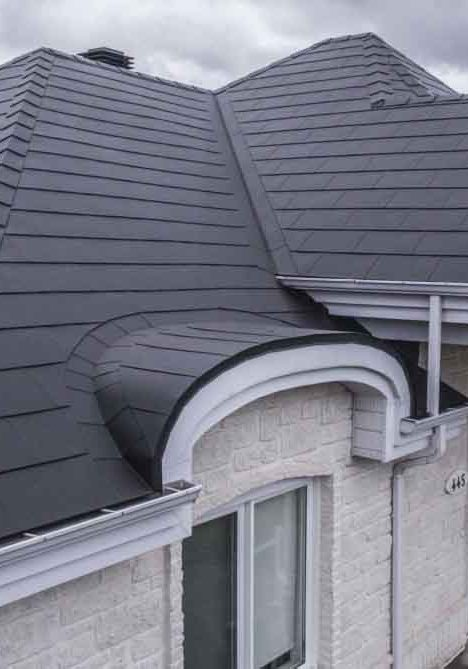 Summerside steel shingles in dark grey
