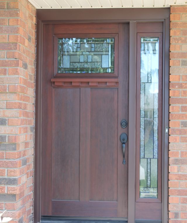 Craftsman door with Shelf and Cachet Glass with Full Glass Sidelight