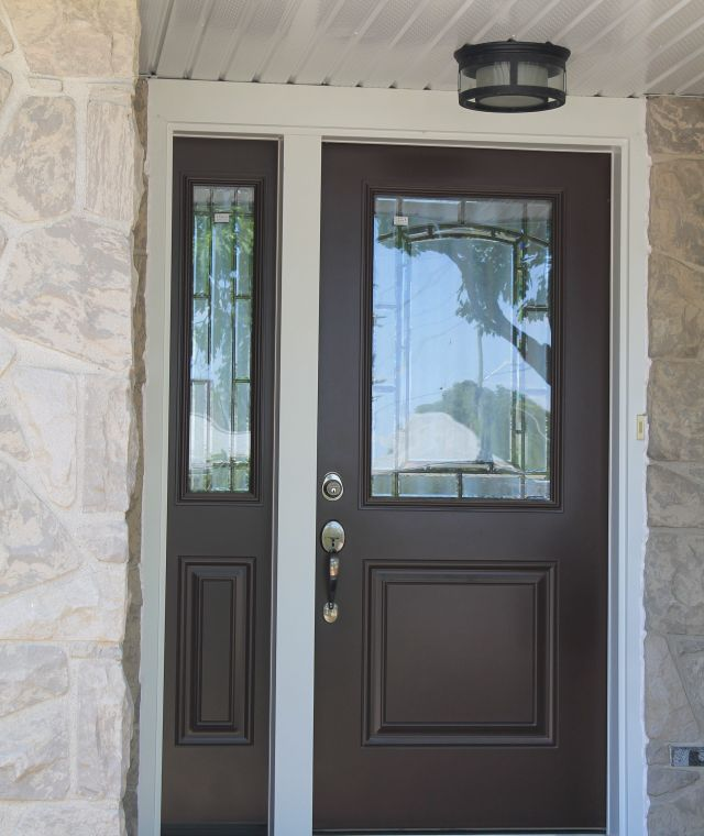 Front Entry Door with White Capping